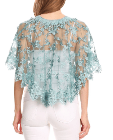 Lace Embroidered Caplet with Scalloped Hem