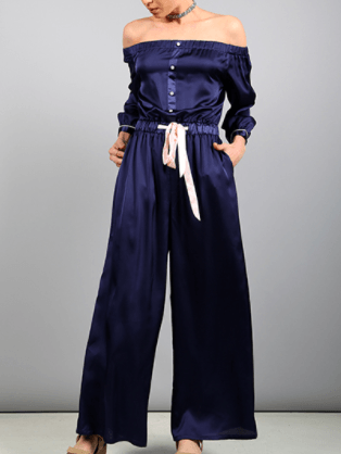 Satin Button Down Off-the-Shoulder Pajama Style Jumpsuit