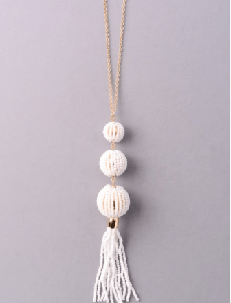 Beaded Tassel Pendant Necklace - White - Roehampton Road
