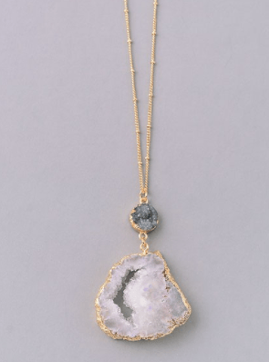 Cut Out Geo Stone Drop Pendant Necklace