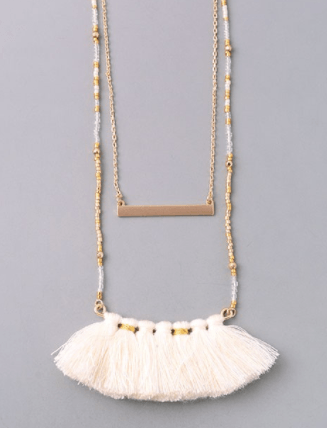 Ivory Tassel Fringe Layered Beaded Necklace