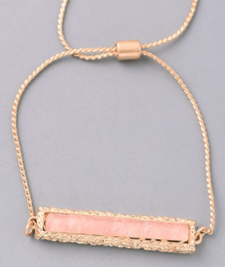 Geo Stone Bar Adjustable Bracelet - Blush