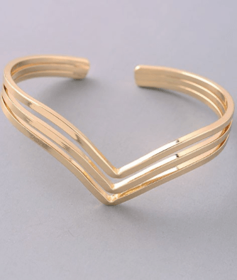 Art Deco Triple Cut Out Bangle Cuff Bracelet