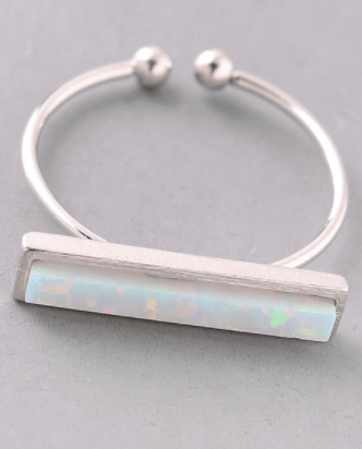 Iridescent Bar Ring - Silver Oval