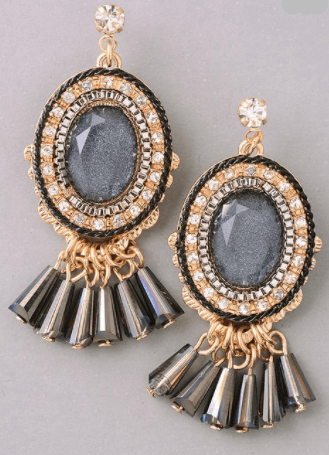 Art Deco Fringe Oval Earrings - Charcoal