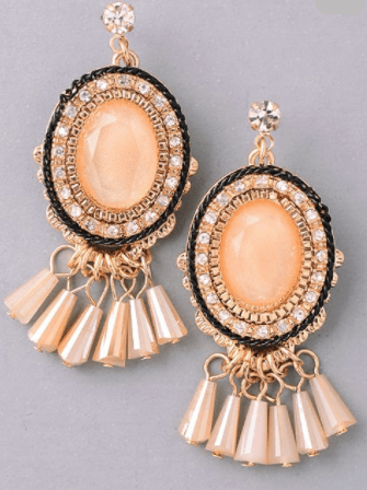 Art Deco Fringe Oval Earrings - Beige