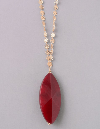 Burgundy Stone Pendant Necklace with Vintage Chain Detail