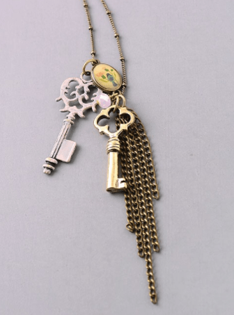 Antique Vintage Style Key and Tassel Pendant Necklace - Blush