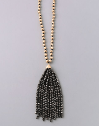 Black and Gold Gatsby Tassel Long Necklace