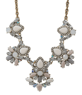 Sparkling Pave Cluster Necklace - Cream