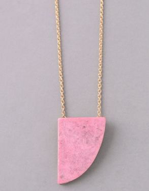 Oblong Faded Magenta Pendant Necklace