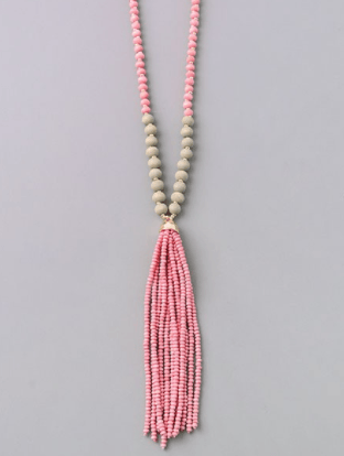 Matte Wooden Beaded Tassel Long Necklace - Pink