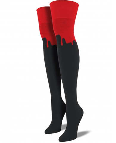 Dripping Red Over-The-Knee Socks