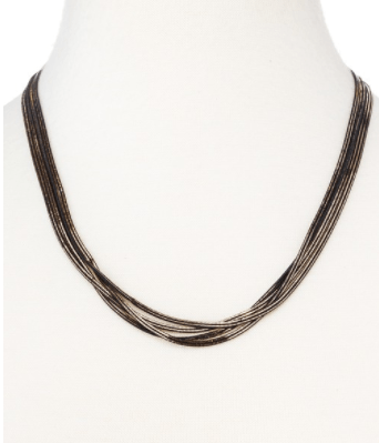 Silky Herringbone Layered Metallic Necklace - Black