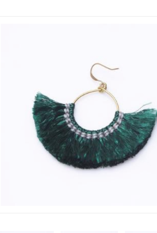 Lolita Fringe Earrings - Green