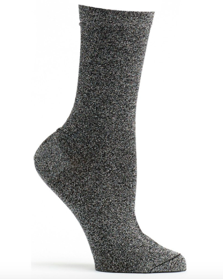 Lurex Glitter Socks - Black
