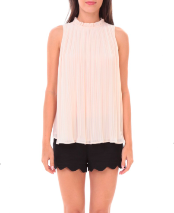 NAKED ZEBRA Ruffled Pleated Sleeveless Top - More Colors Available!