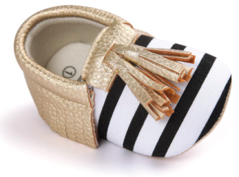Black And White Striped Baby Booties