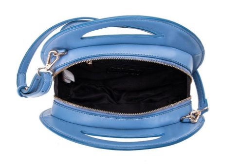 Carrell Blue Round Purse With Detachable Strap