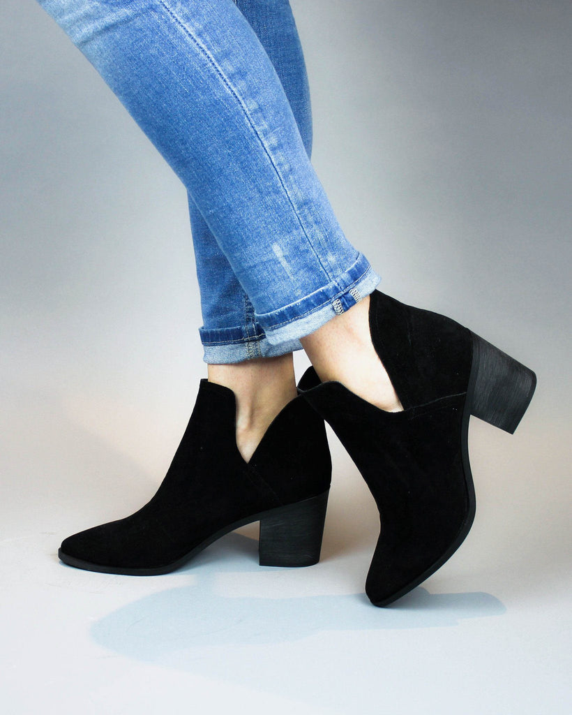 Black Suede Ankle Cut Out Bootie