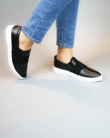 Black Faux Leather Loafer with Elastic Detail