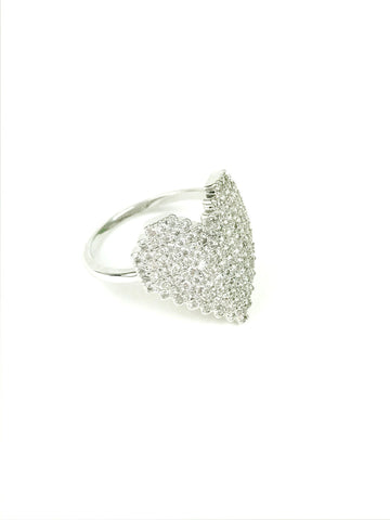Crystal Heart Silver Ring