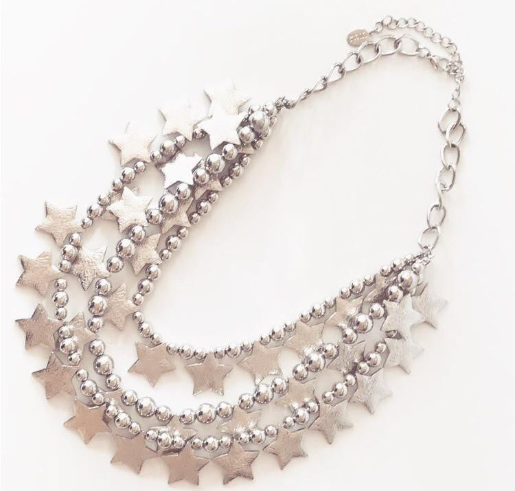 Big Star Statement Necklace - Silver - Roehampton Road