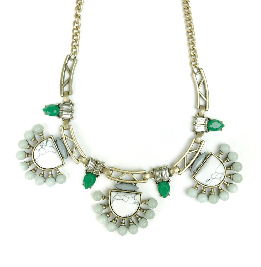 Green and White Marble Statement Necklace