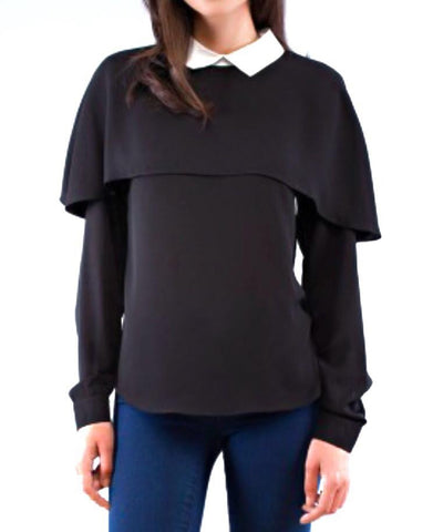 EF Collared Woven Caplet L/S Top