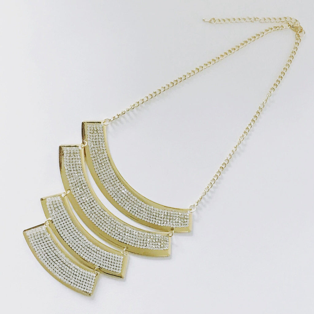 Bling Layered Bar Statement Necklace