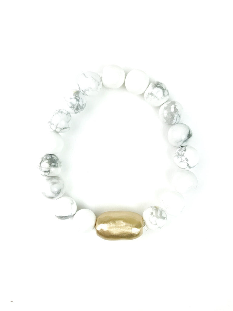 Marble Glossy Elastic Beaded Bracelet with Gold Oval Detail