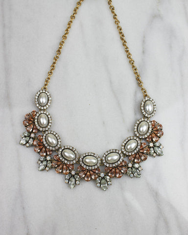 Pearl And Pink Crystal Statement Necklace