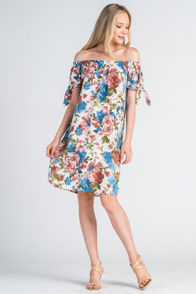 New Off The Shoulder Dress with Self-Tie Sleeves