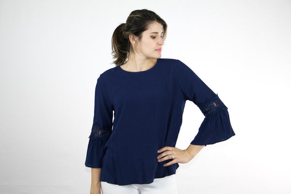 Lace Trimmed Bell Sleeve Top