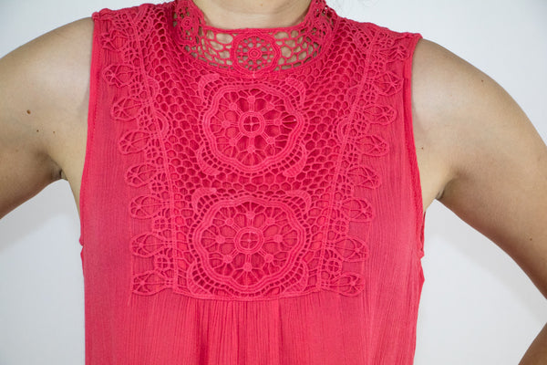 Coral Crochet High-Neck Dress