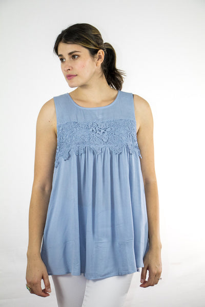 Crochet Trimmed Sleeveless Top