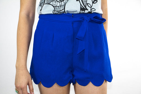 Front Tie Scalloped Shorts