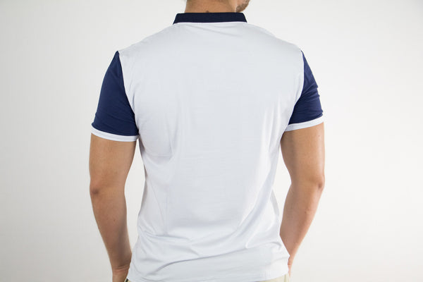 White/Navy Polo