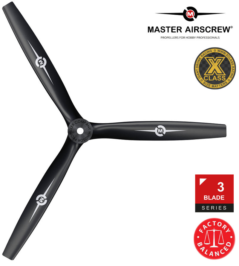 3-Blade - 13x12 Propeller Black - Master Airscrew - Drone and Model Airplane Propellers