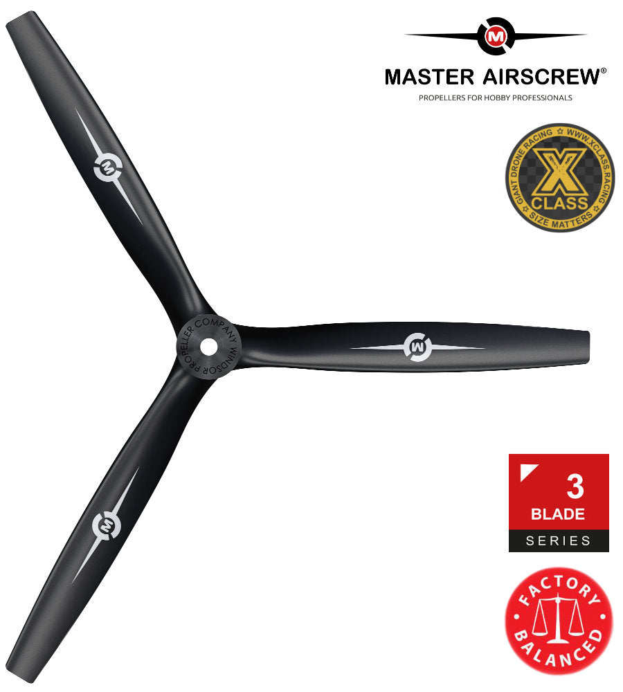 3-Blade - 13x12 Propeller PUSHER Black - Master Airscrew - Multi Rotor/ Model Airplane Propellers
