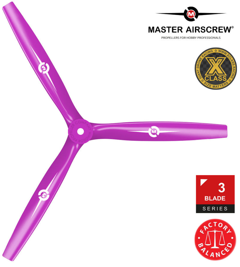 3-Blade - 13x12 Propeller Magenta - Master Airscrew - Drone and Model Airplane Propellers