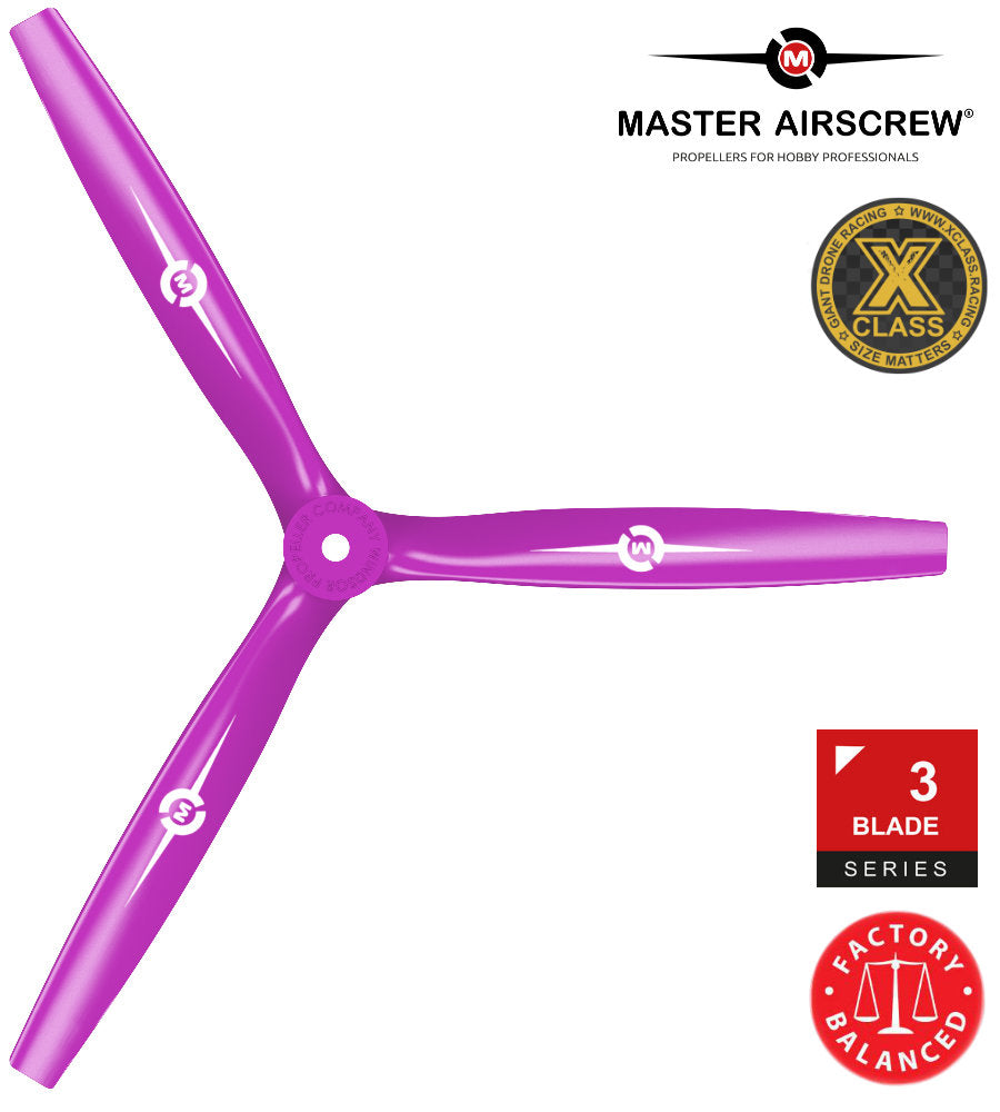 3-Blade - 13x12 Propeller PUSHER Magenta - Master Airscrew - Multi Rotor/ Model Airplane Propellers