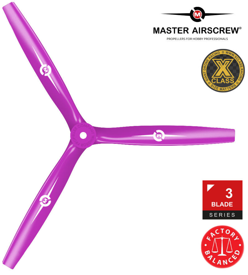 3-Blade - 13x12 Propeller Rev./Pusher Magenta - Master Airscrew - Drone and Model Airplane Propellers