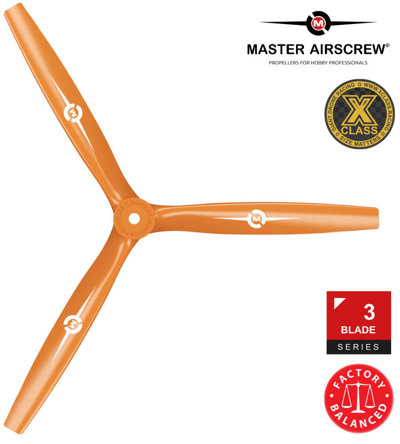 3-Blade - 13x12 Propeller Orange - Master Airscrew - Drone and Model Airplane Propellers