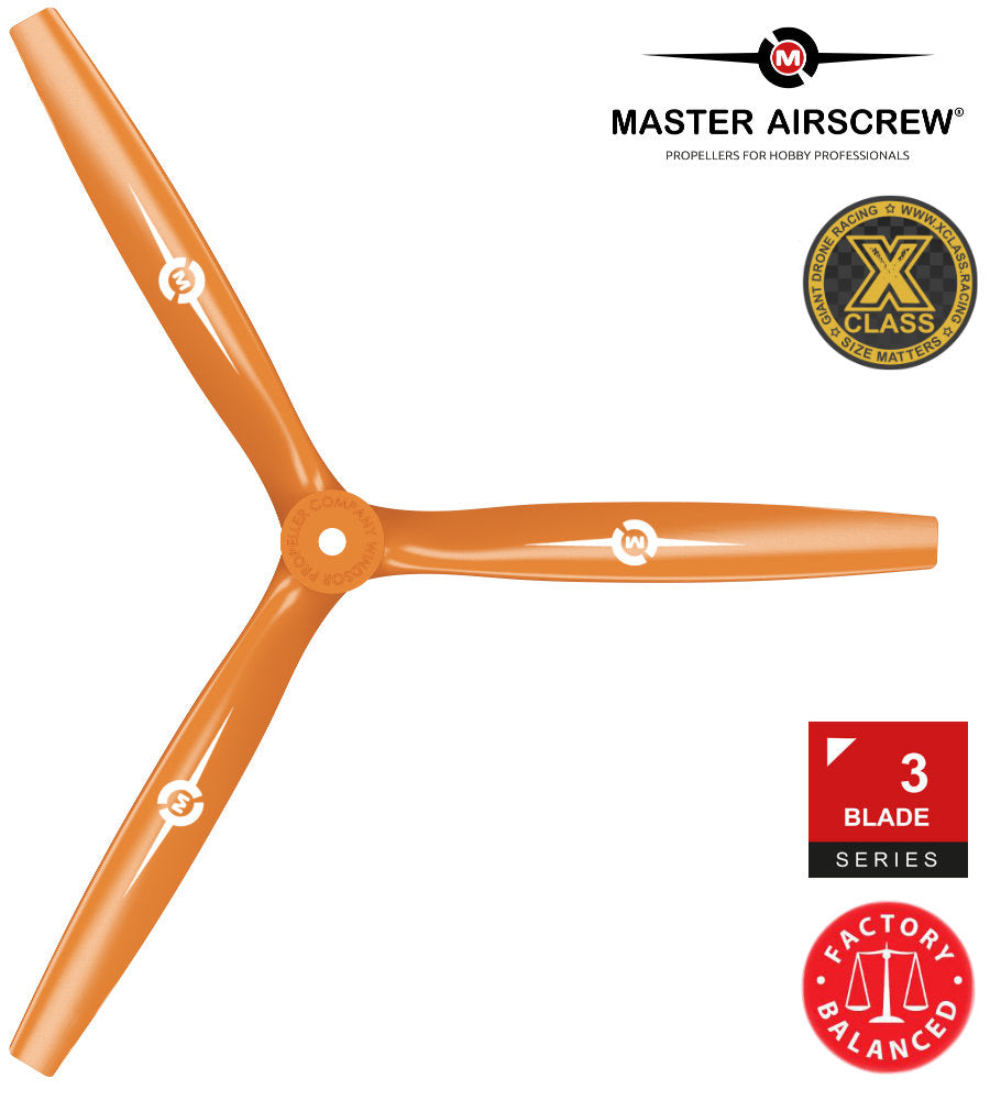 3-Blade - 13x12 Propeller PUSHER Orange - Master Airscrew - Multi Rotor/ Model Airplane Propellers