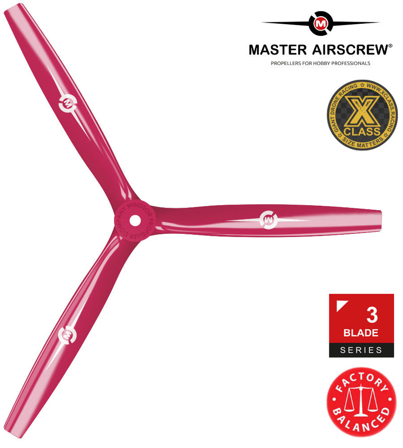 3-Blade - 13x12 Propeller Rev./Pusher Red - Master Airscrew - Multi Rotor/ Model Airplane Propellers