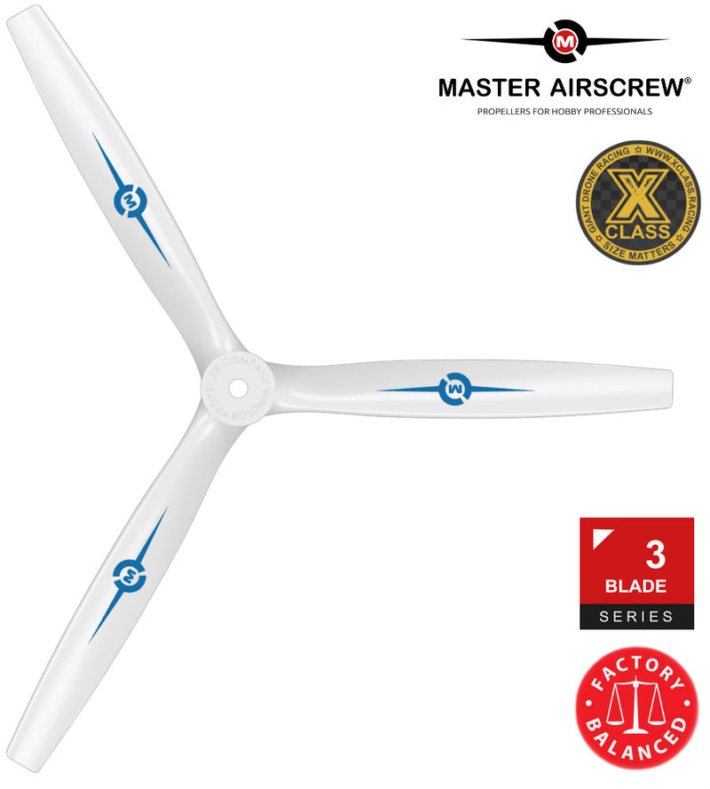 3-Blade - 13x12 Propeller Rev./Pusher White - Master Airscrew - Drone and Model Airplane Propellers