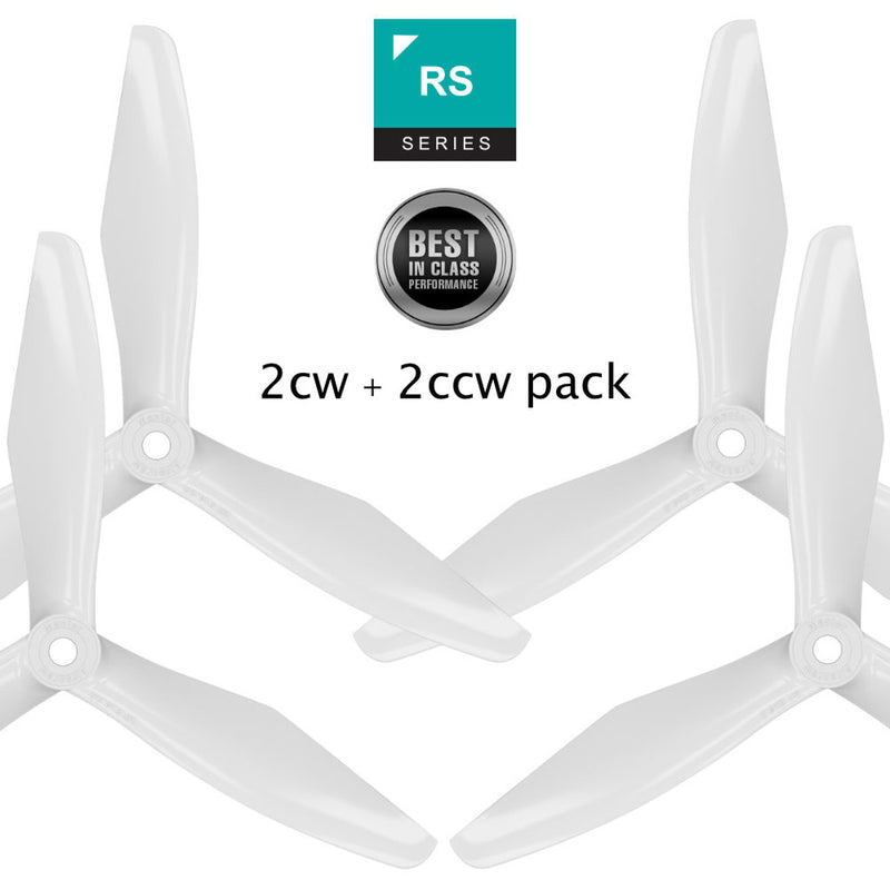RS-3blade-FPV - 6x4.5 Prop Set x4 White - Master Airscrew - Drone and Model Airplane Propellers
