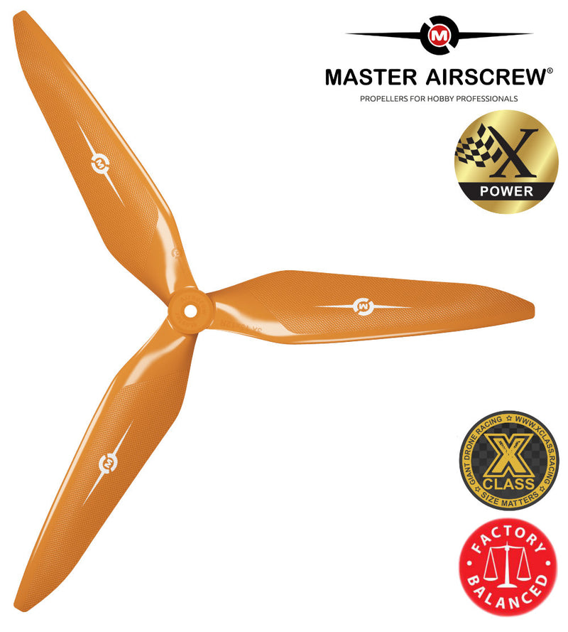 3X Power - 11x10 Propeller (CW) Rev./Pusher Orange - Master Airscrew - Drone and Model Airplane Propellers