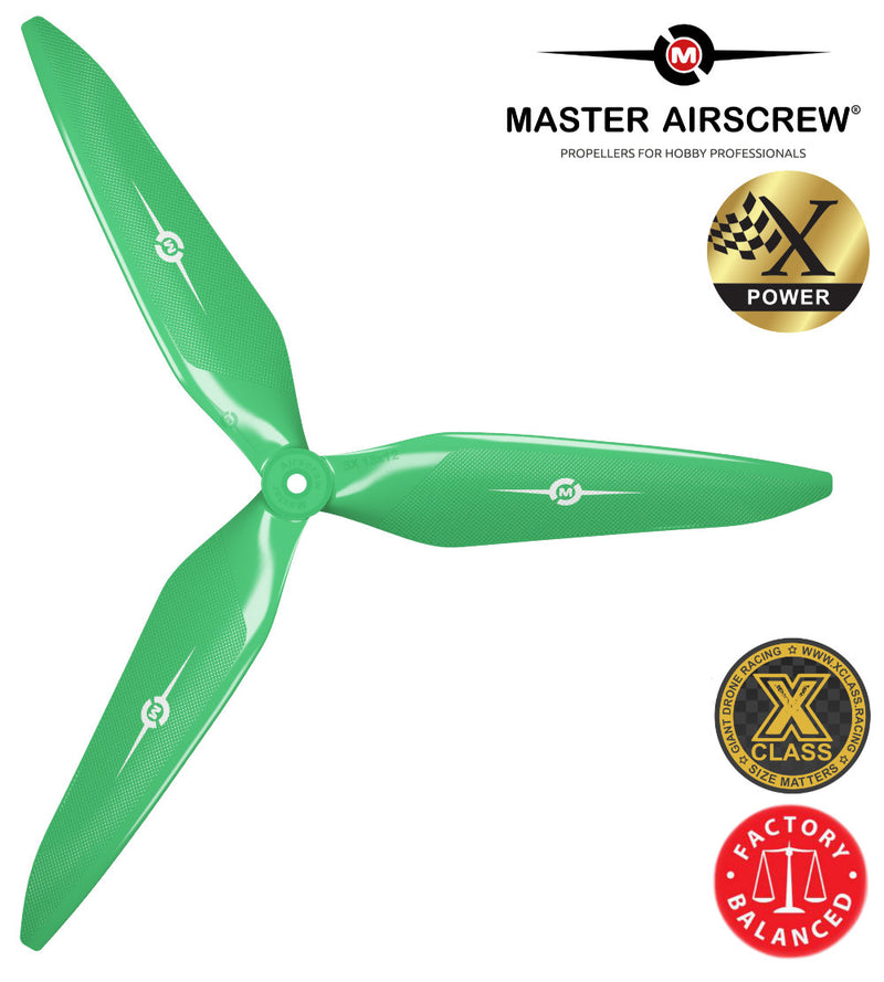 3X Power - 13x12 Propeller (CCW) Green - Master Airscrew - Drone and Model Airplane Propellers